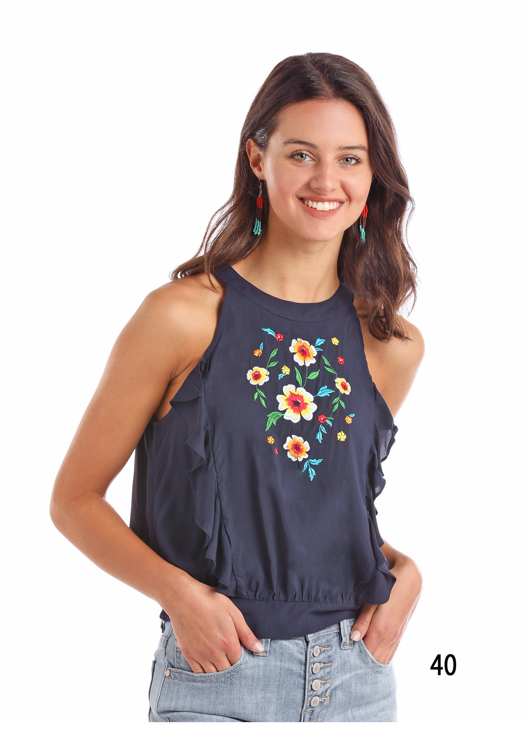 Panhandle Navy Embroidered Tank Top-panhandle-Lazy J Ranch Wear
