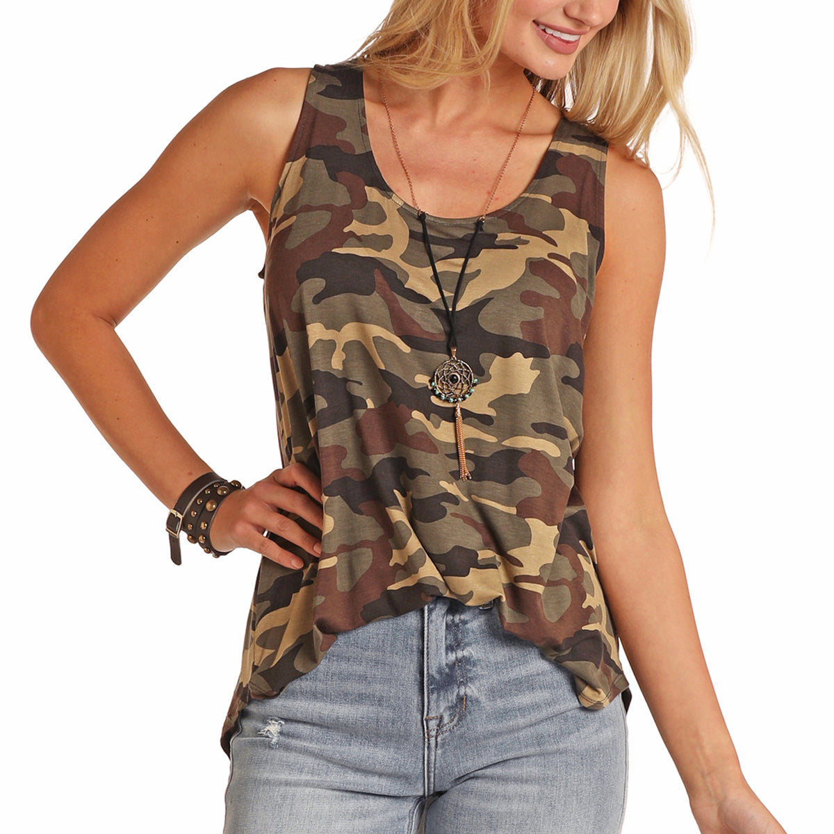 Panhandle Women's Camo Knit Tank - Olive
