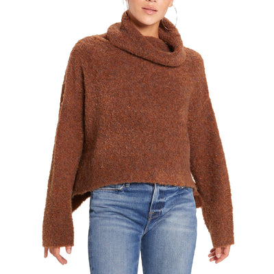 Olivaceous Women's Boucle Turtleneck Sweater - Brown
