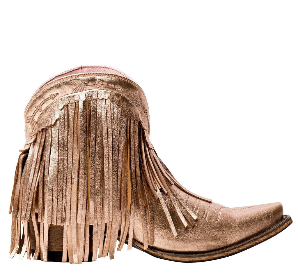 Lane Boots Spitfire Rose Gold Metallic Fringe Bootie