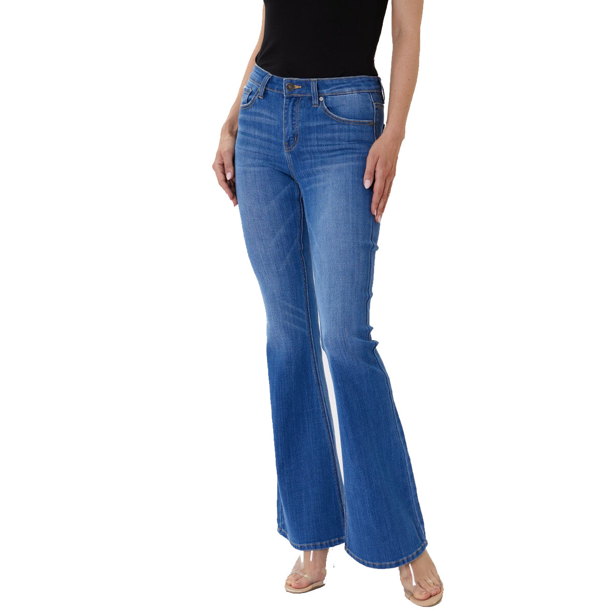 Kan Can Women's Mid Rise Flare Jeans - Medium Wash