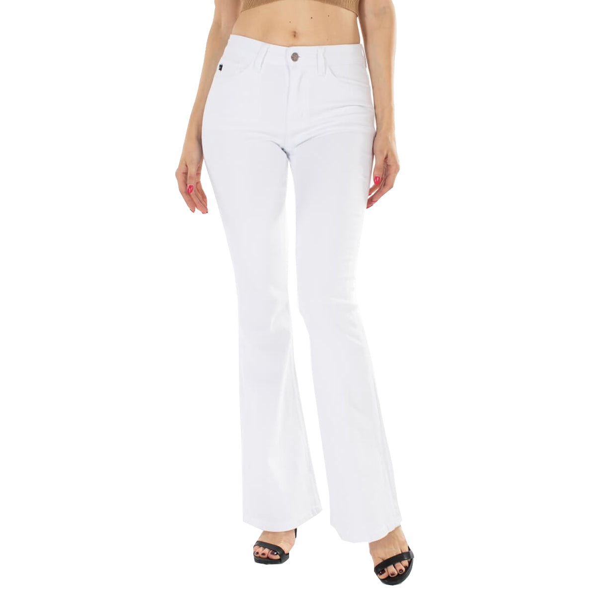 Kan Can Women's Alaska Mid Rise Flare Jeans - White