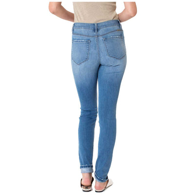 Kan Can Women's High Rise Button Fly Super Skinny Jeans - Medium Wash