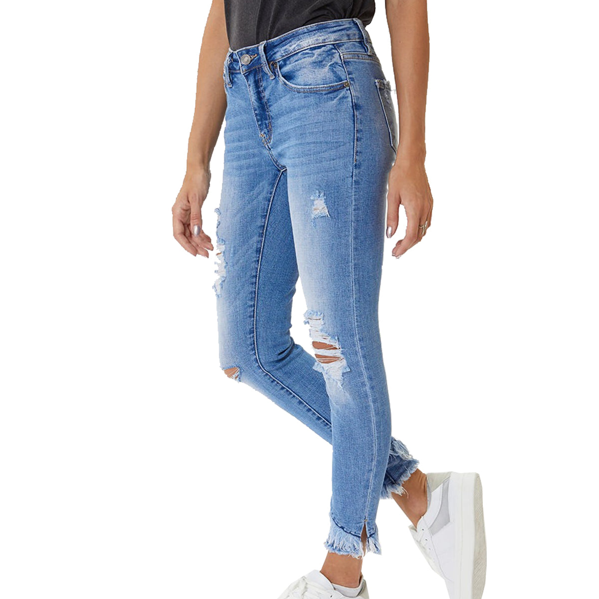 Kan Can Women's Mid-Rise Ankle Skinny Jeans