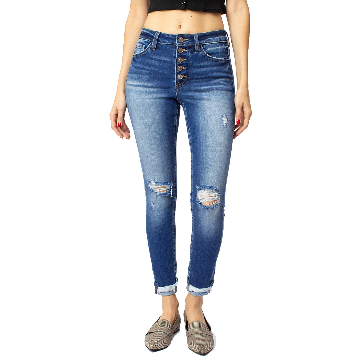 Kan Can Women's Norah High Rise Ankle Skinny Jeans - Medium