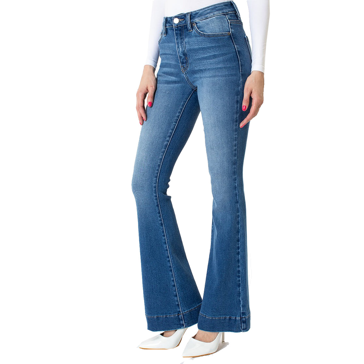 Kan Can Women's High Rise Flare Jeans