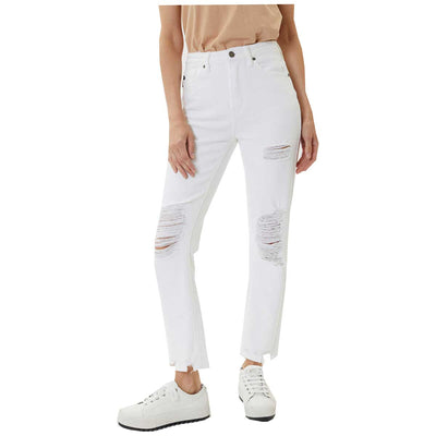 Kan Can Women's High Rise Distressed Slim Straight Jeans - White