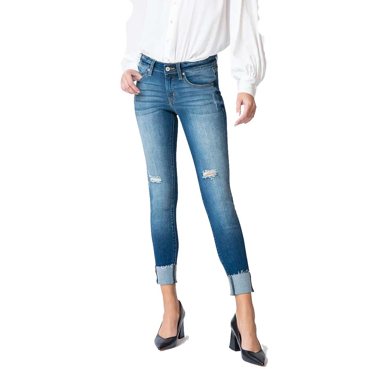 Kan Can Women's Stella Low Rise Ankle Skinny Jeans