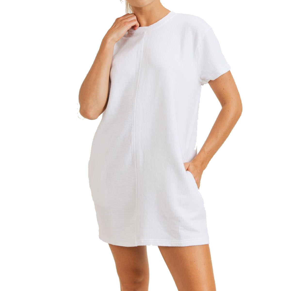 Mono B Women's Cotton Mineral Washed Ribbed Tennis Dress - White