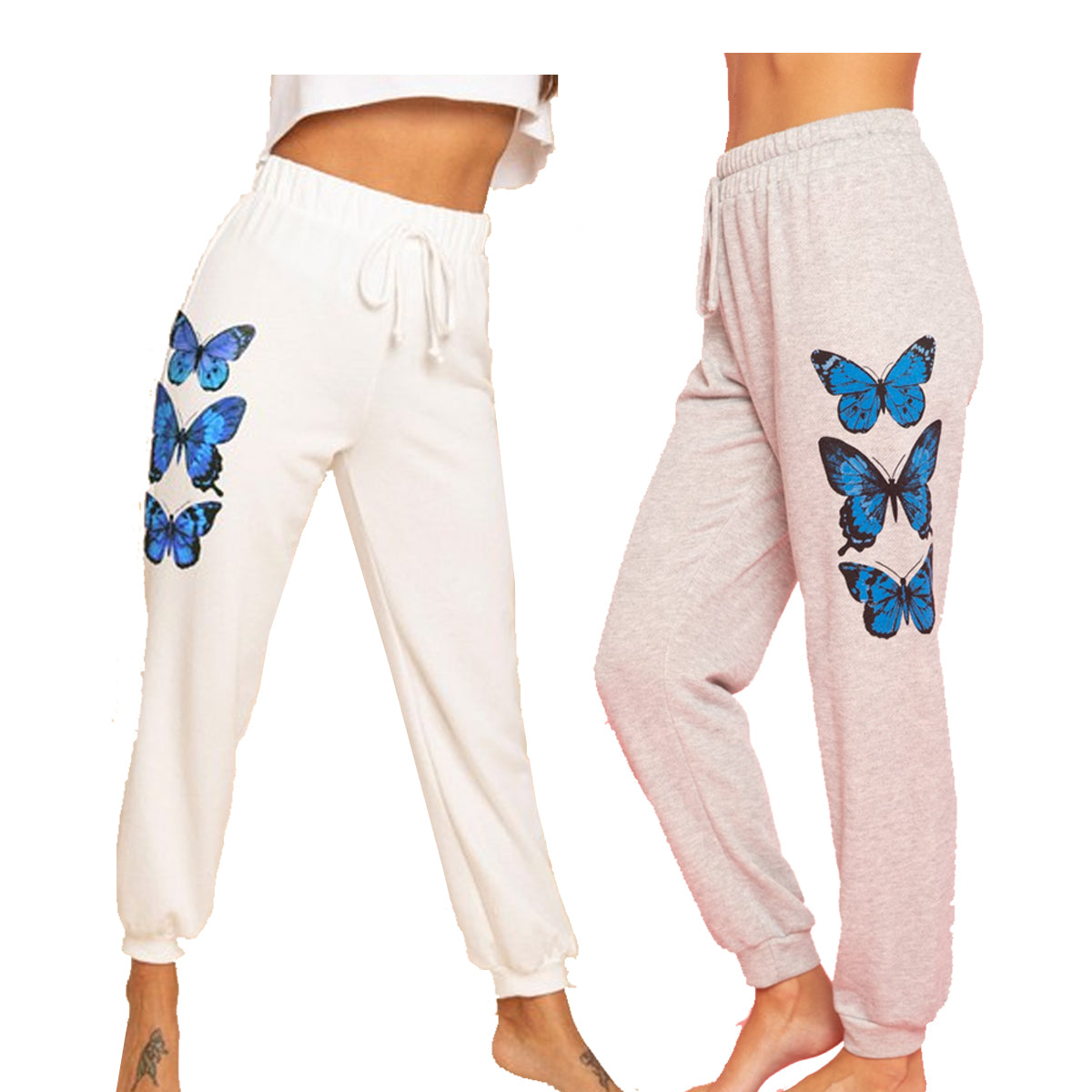Blue Buttercup Women's Butterfly French Terry Sweatpants