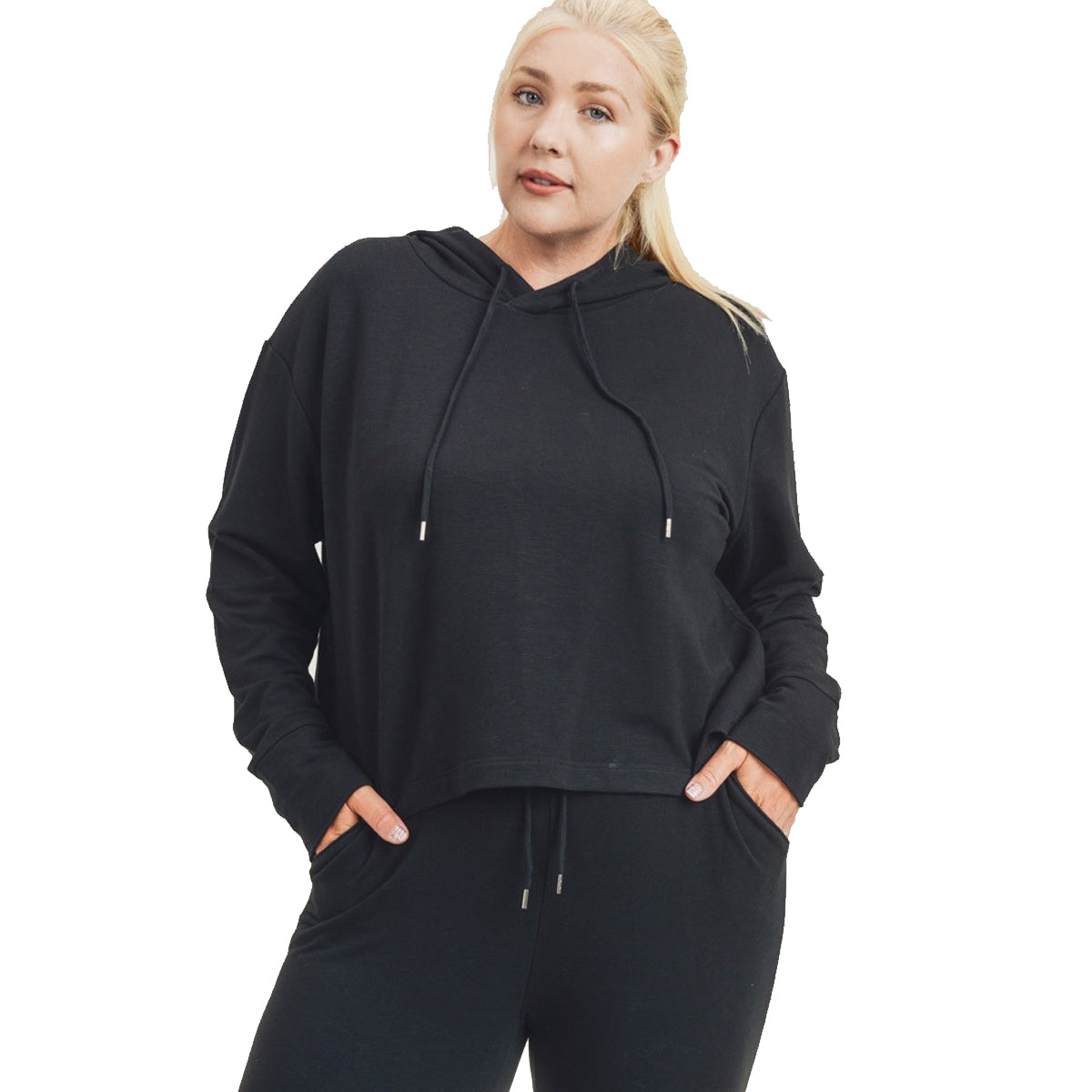 Mono B Women's Cropped Hoodie Boxy Sweatshirt - Black