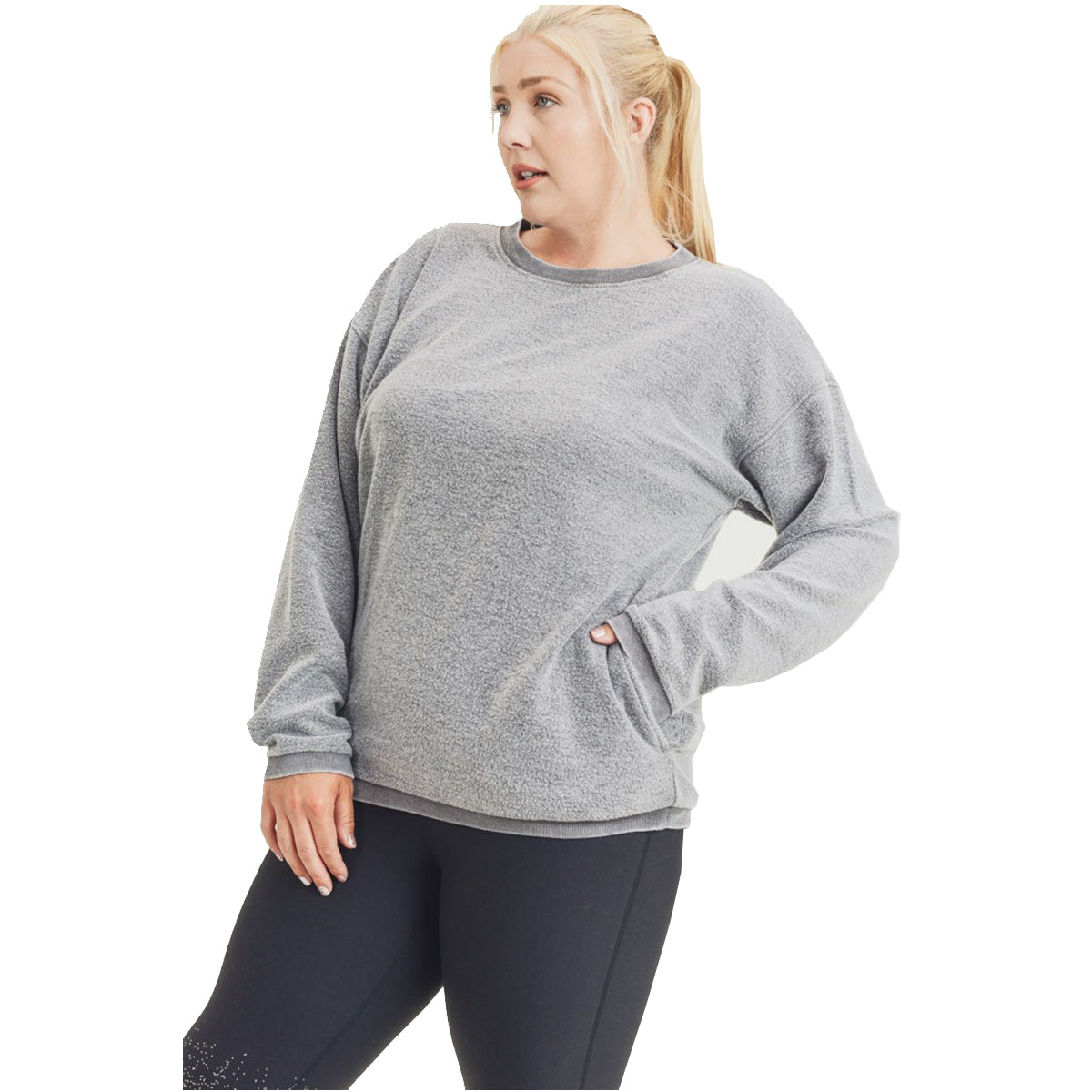 Mono B Women's Plus Size Fuzzy Mineral-Washed Pullover - Charcoal Grey