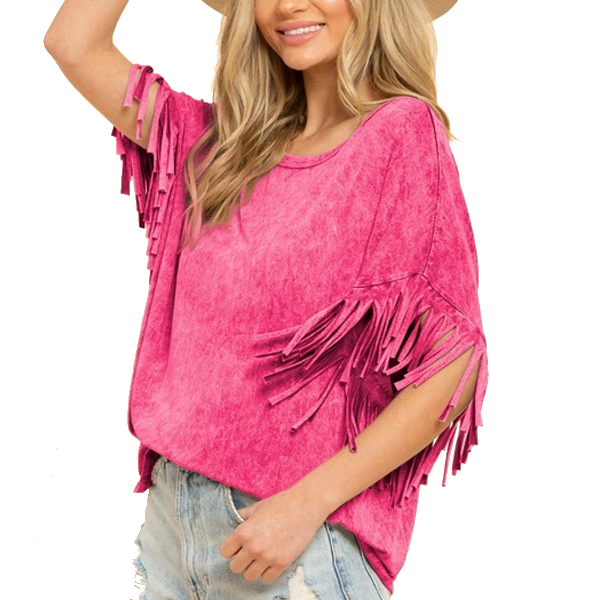 Blue Buttercup Women's Mineral Dyed Fringe Top - Camel