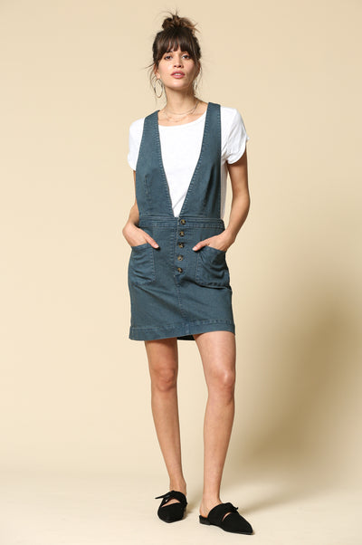 Plunged Vneck denim Overalls Skirt with button down detail