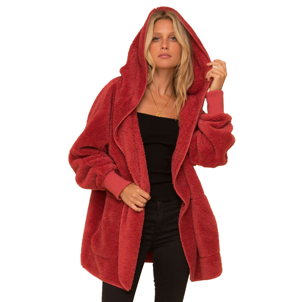 Hem & Thread Faux Fur So Soft Plush Hooded Jacket  - Vintage Red