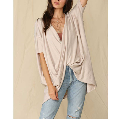 By Together Short Sleeve Twisted Tunic Sweater - Natural