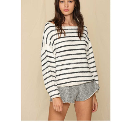 By Together Women's Long Sleeve Knit Oversized Sweater - Striped