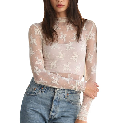 By Together Women's Long Sleeve Mock Neck Fitted Lace Top - Ivory
