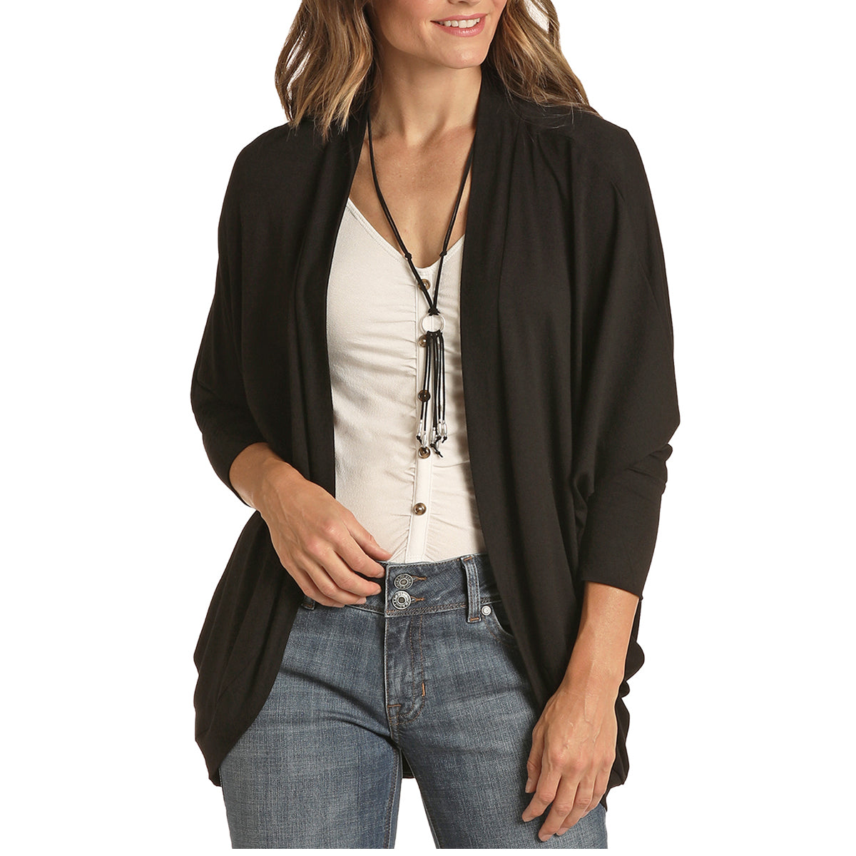 Panhandle Women's Knit Cocoon Cardigan - Black