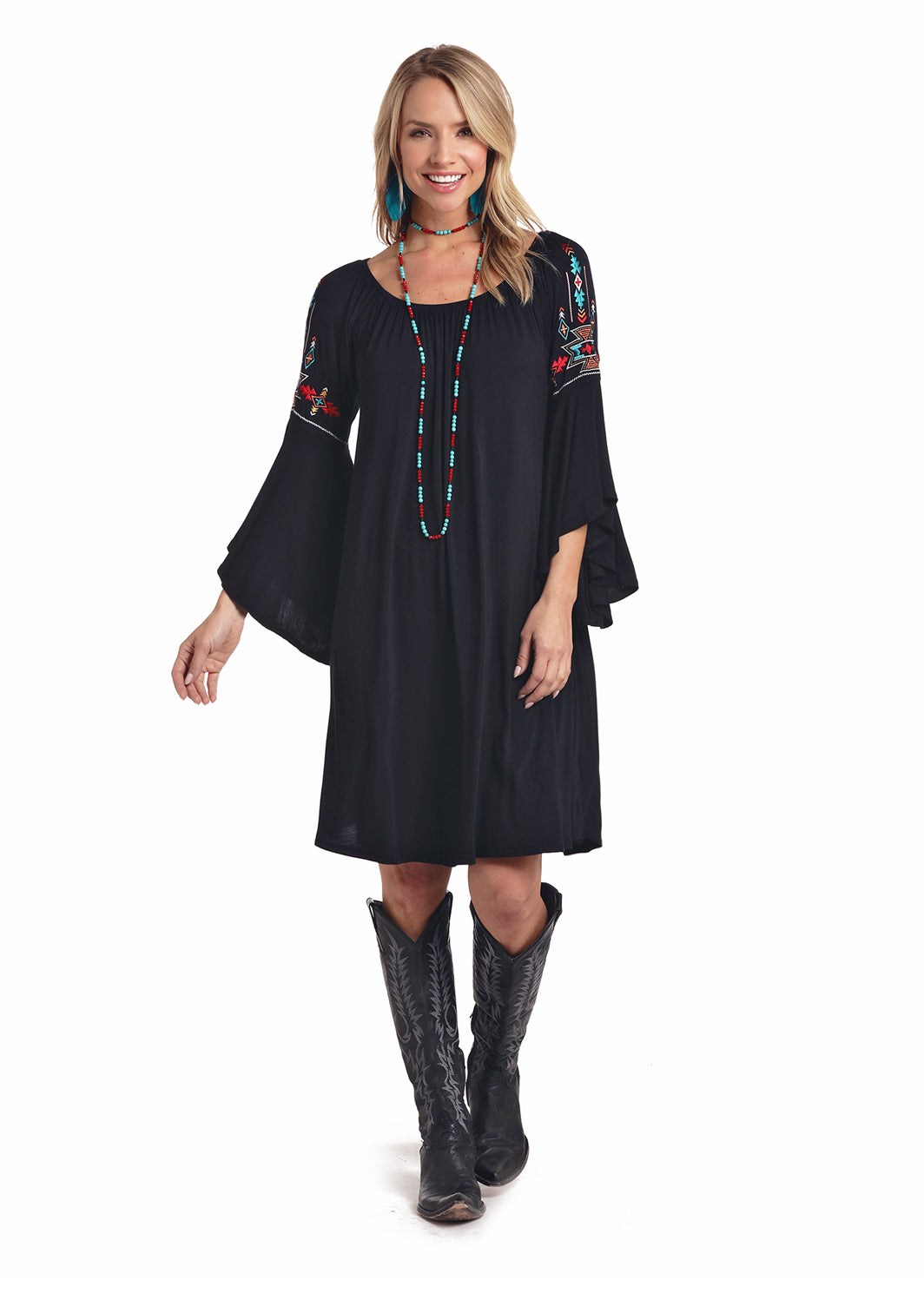 Panhandle Navy Embroidery Women's Dress