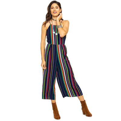 Wrangler Women's Halter Striped Jumpsuit