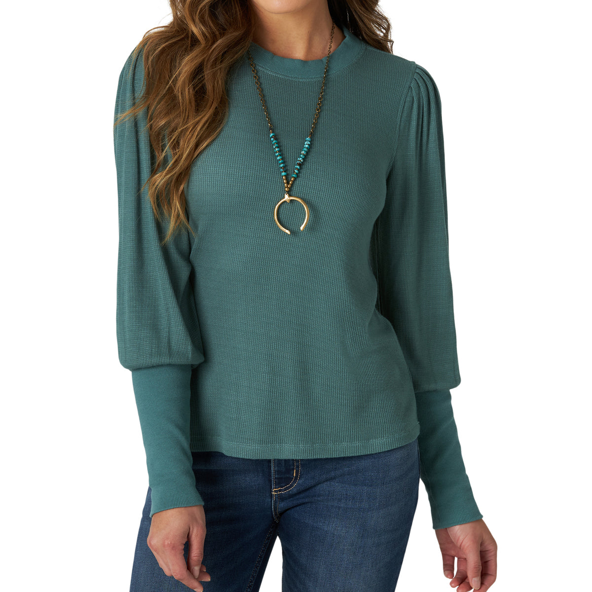 Wrangler Women's Retro Waffle Knit Top - Sage Green