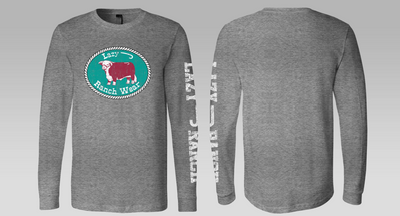 Lazy J Ranch Wear Original Patch Grey Long Sleeve T-Shirt