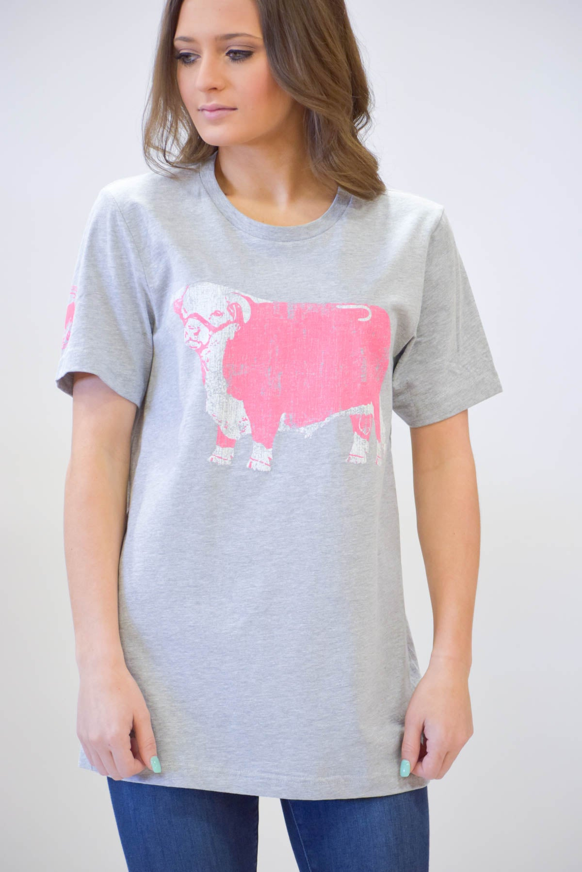 Lazy J Original Hereford Pink Jughead Gray Short Sleeve T-Shirt
