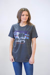 Lazy J Sunset Hereford Charcoal Gray Short Sleeve T-Shirt