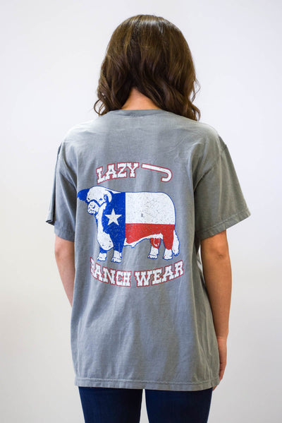 Lazy J Lone Star Hereford Grey Short Sleeve Pocket T-Shirt