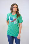 Lazy J Green American Flag Short Sleeve T-Shirt