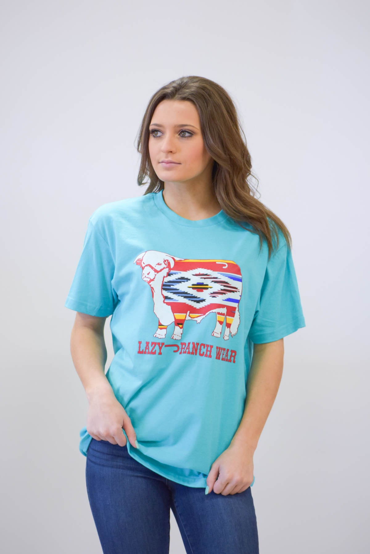 Lazy J Ranch Wear Serape Hereford Short Sleeve T-Shirt - Turquoise