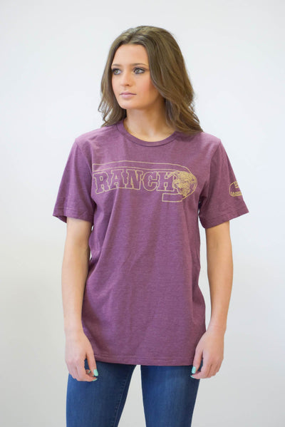 "Lazy J ""J Ranch"" Maroon Short Sleeve T-Shirt"