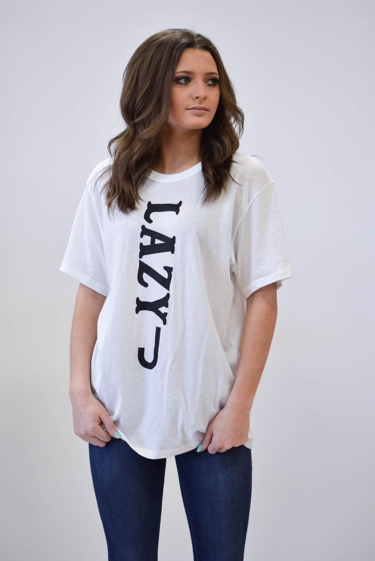 Lazy J Vertical Black & White Short Sleeve T-Shirt
