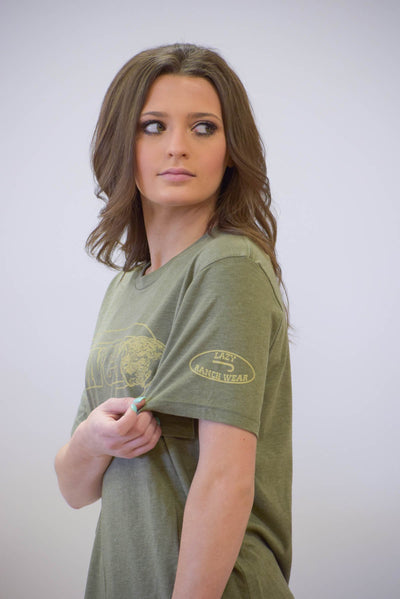 "Lazy J ""J Ranch"" Olive Short Sleeve T-Shirt"