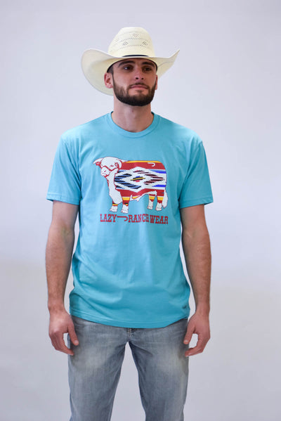 Lazy J Serape Hereford Turquoise Short Sleeve T-Shirt