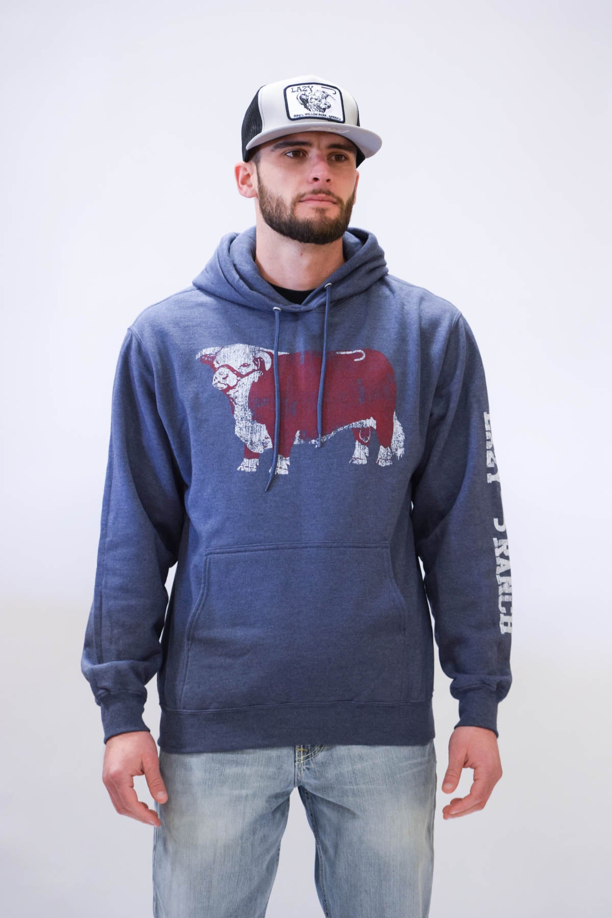 Lazy J Original Hereford Maroon Jughead Navy Hoodie
