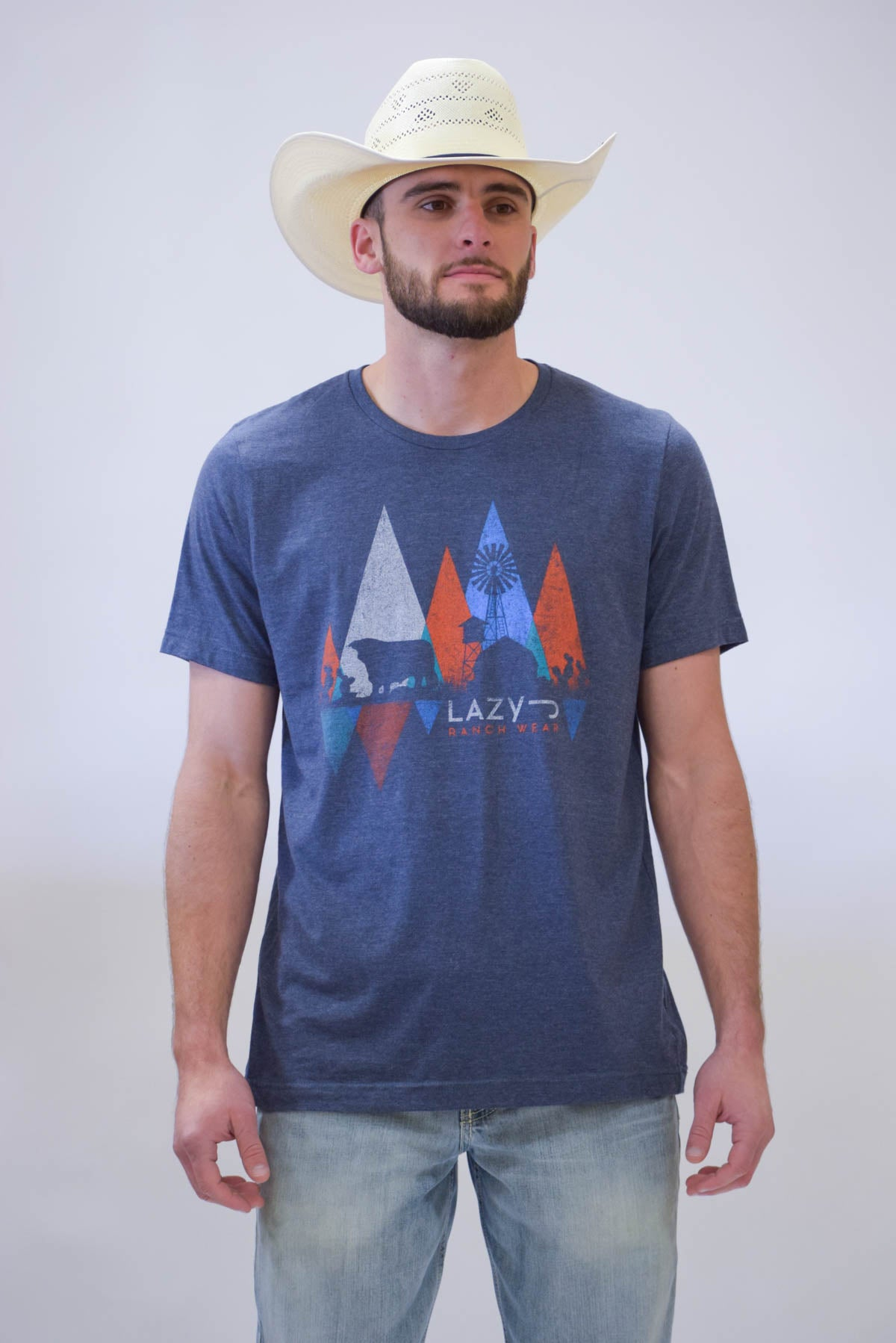 Lazy J Windmill Triangle Navy Short Sleeve T-Shirt