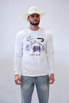 Lazy J Winter Mountain Plaid White Long Sleeve T-Shirt