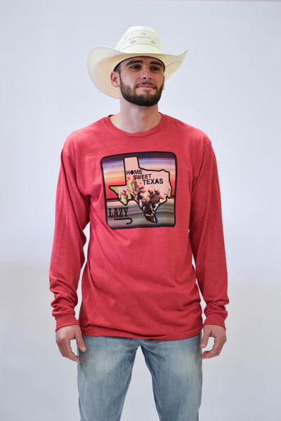 Lazy J Home Sweet Texas Cardinal Red Long Sleeve T-Shirt