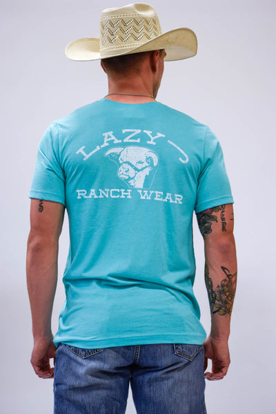 Lazy J Seafoam Green Ranch Label Short Sleeve T-Shirt