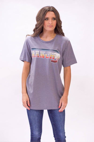 "Lazy J Serape ""J Ranch"" Grey Short Sleeve T-Shirt"