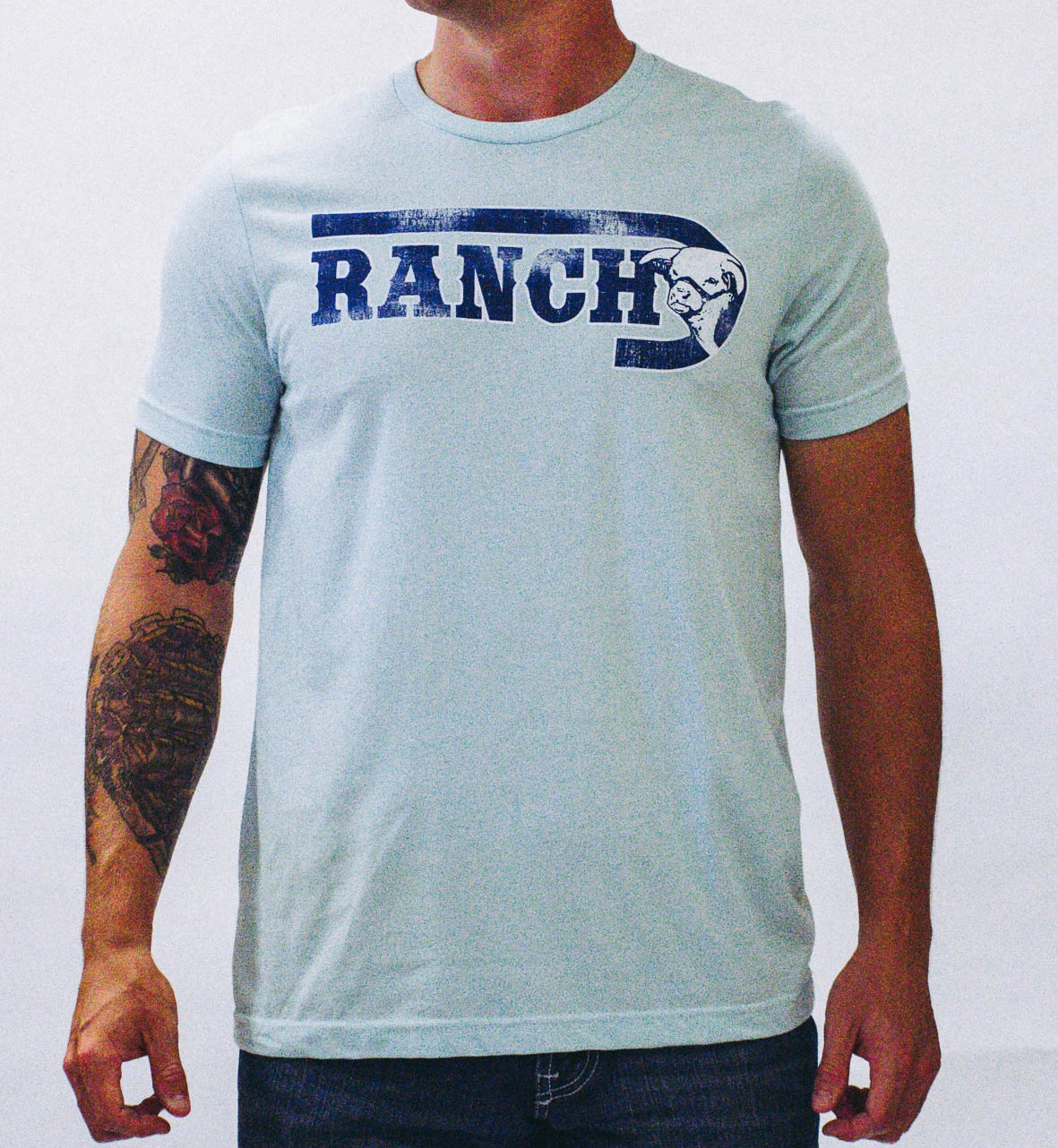 "Lazy J ""J Ranch"" Logo Ice Blue Short Sleeve T-Shirt"