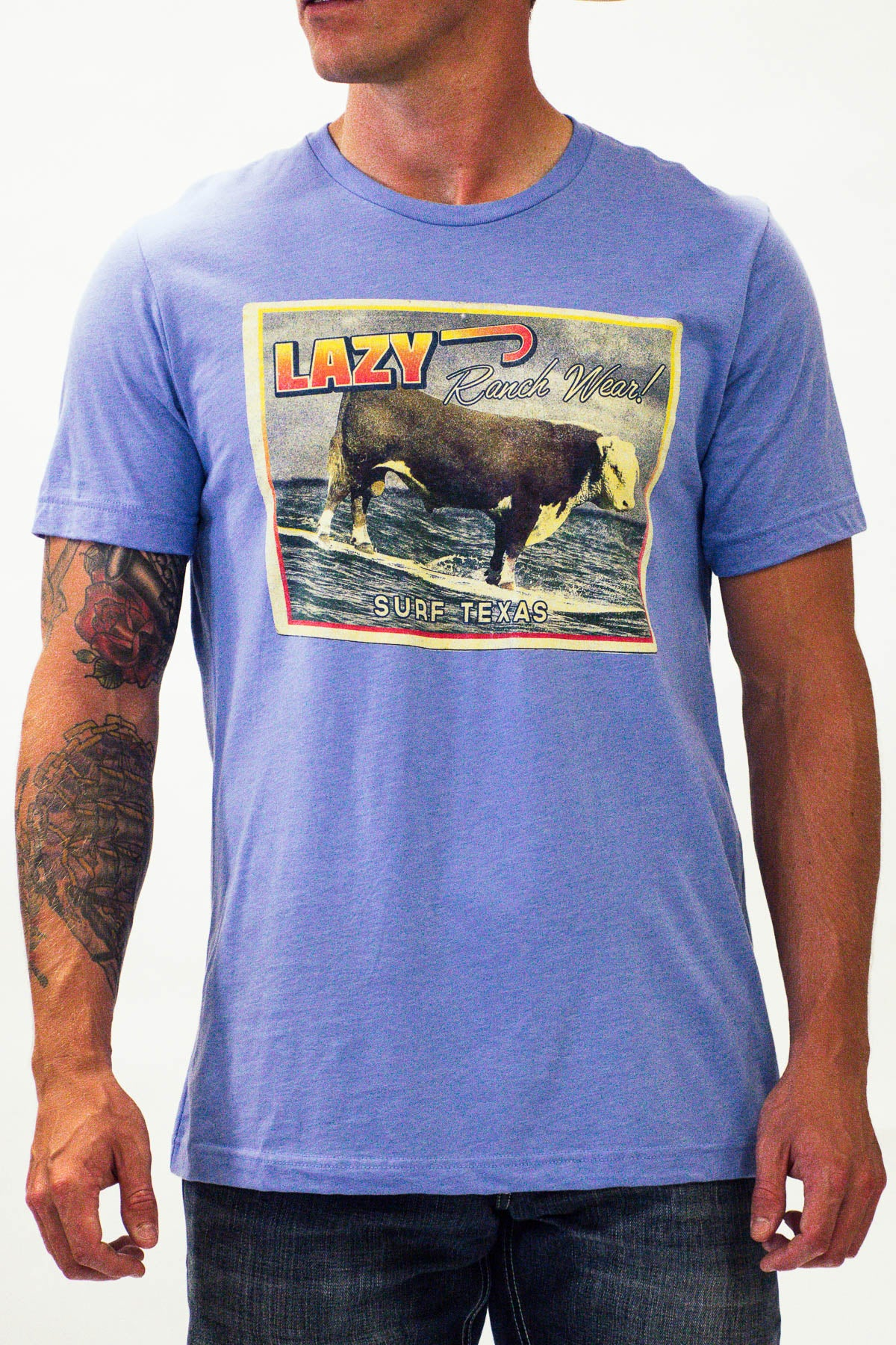Lazy J Surf Logo Blue Short Sleeve T-Shirt