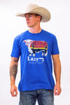 Lazy J Sunrise Logo Blue Short Sleeve T-Shirt