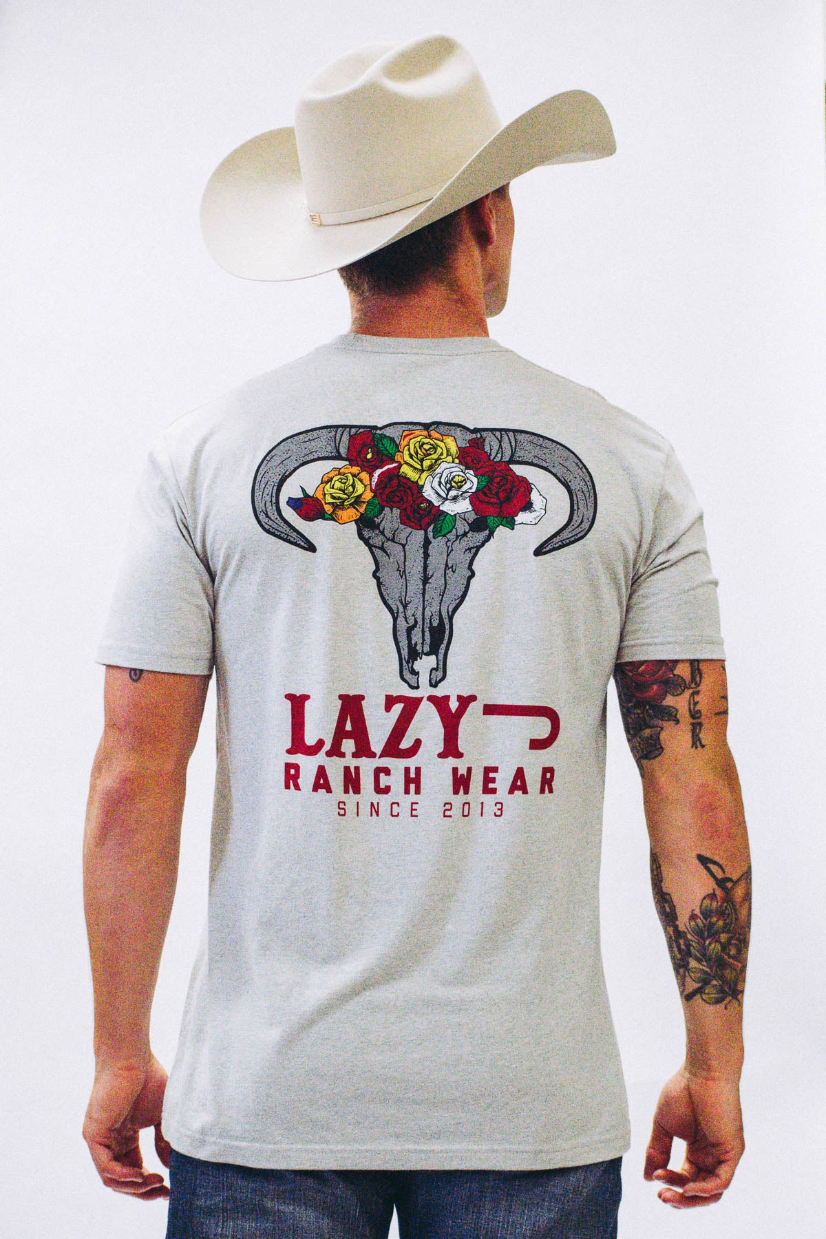 Lazy J Skull & Flowers Silk Grey Short Sleeve T-Shirt