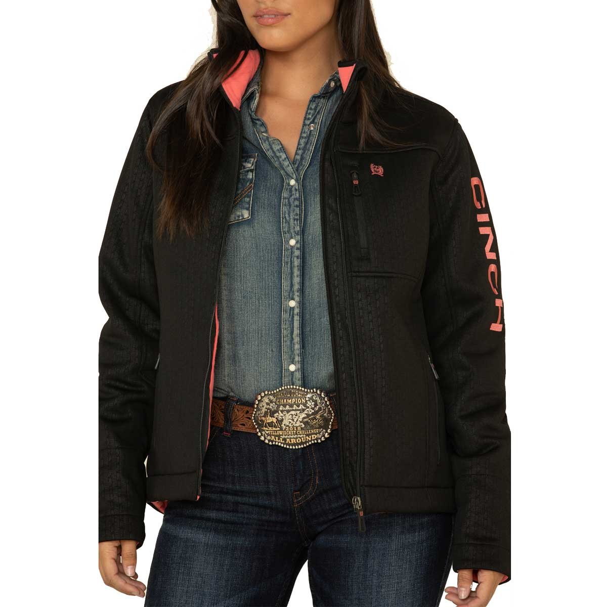 Cinch Women's Concealed Carry Bonded Jacket - Black and Pink