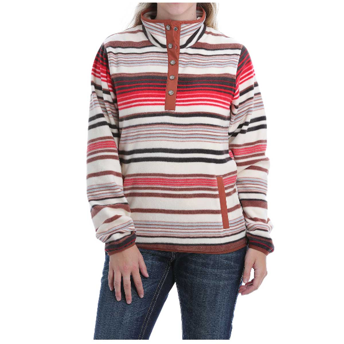 Cinch Women's Printed Polar Fleece Pullover - Coral Cream and Black