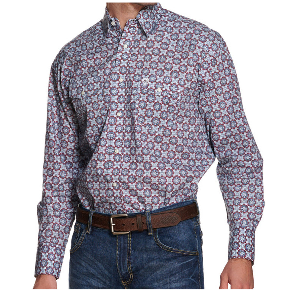 Wrangler Men's George Strait Troubadour Western Snap Print Long Sleeve Shirt - Multi