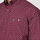 Wrangler Men's George Straight Button Down Long Sleeve Shirt - Burgundy
